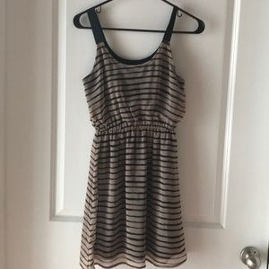 Taupe and black stripped dress. Like new